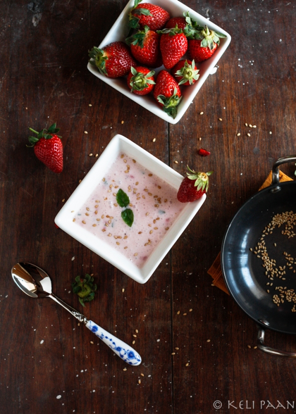 Strawberry-Basil Raita with toasted sesame seeds...