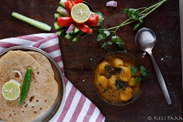 Dum-Aloo truly sinful baby potatoes in a spicy onion-cashew gravy….