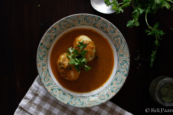 Egg Curry made from a fragrant coconut paste....